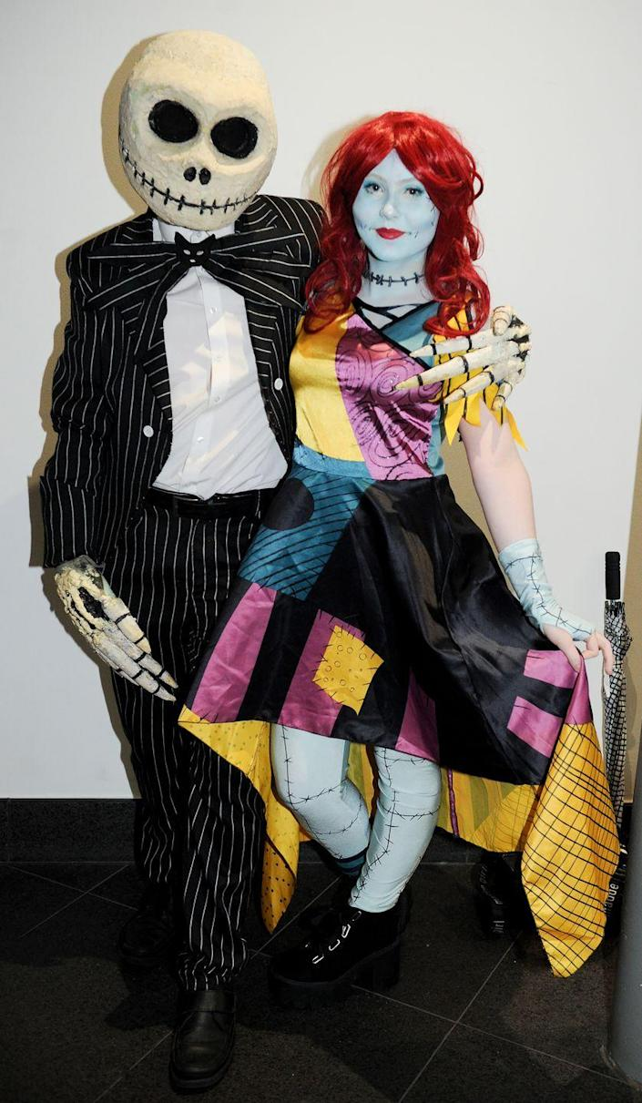 """<p>Nothing says """"This is Halloween"""" quite like coordinating couples costumes from <em>The Nightmare Before Christmas</em>. </p><p><a class=""""link rapid-noclick-resp"""" href=""""https://www.amazon.com/Disguise-Jack-Skellington-Kit-Adult/dp/B01EG5605I?tag=syn-yahoo-20&ascsubtag=%5Bartid%7C10070.g.1923%5Bsrc%7Cyahoo-us"""" rel=""""nofollow noopener"""" target=""""_blank"""" data-ylk=""""slk:SHOP JACK SKELLINGTON ACCESSORIES"""">SHOP JACK SKELLINGTON ACCESSORIES</a></p><p><a class=""""link rapid-noclick-resp"""" href=""""https://www.amazon.com/Party-City-Nightmare-Christmas-Halloween/dp/B07HPG1QPK?tag=syn-yahoo-20&ascsubtag=%5Bartid%7C10070.g.1923%5Bsrc%7Cyahoo-us"""" rel=""""nofollow noopener"""" target=""""_blank"""" data-ylk=""""slk:SHOP PATCHWORK DRESS"""">SHOP PATCHWORK DRESS</a></p>"""