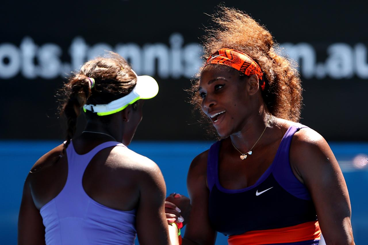MELBOURNE, AUSTRALIA - JANUARY 23:  Sloane Stephens (L) of the United States celebrates winning her Quarterfinal match against Serena Williams of the United States during day ten of the 2013 Australian Open at Melbourne Park on January 23, 2013 in Melbourne, Australia.  (Photo by Cameron Spencer/Getty Images)