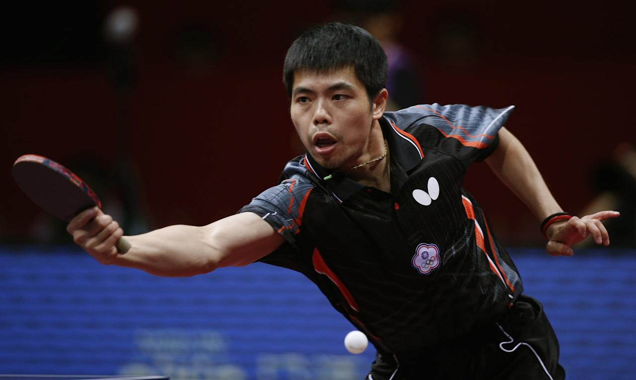 <p>Taiwan's Chuang hits a return to Croatia's Kolarek during the World Team Table Tennis Championships in Tokyo </p>