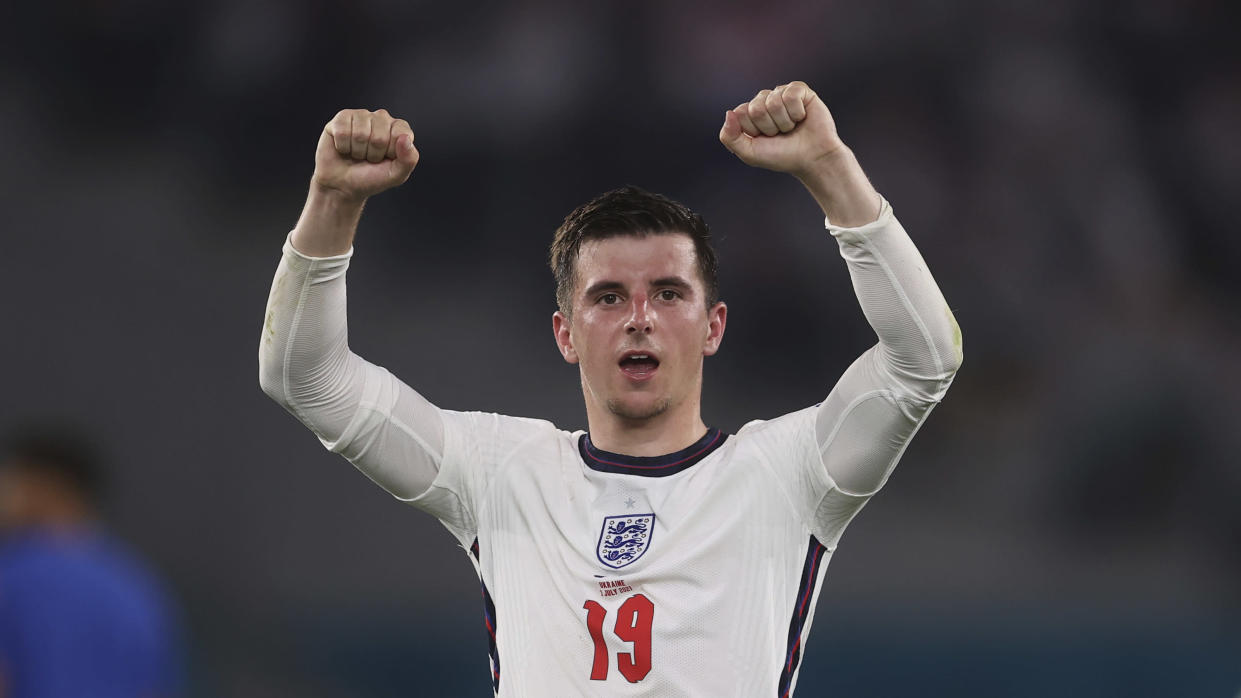England's Mason Mount applauds fans at the end of the Euro 2020 soccer championship quarterfinal soccer match between Ukraine and England at the Olympic stadium, in Rome, Italy, Saturday, July 3, 2021. (Lars Baron/Pool Photo via AP)