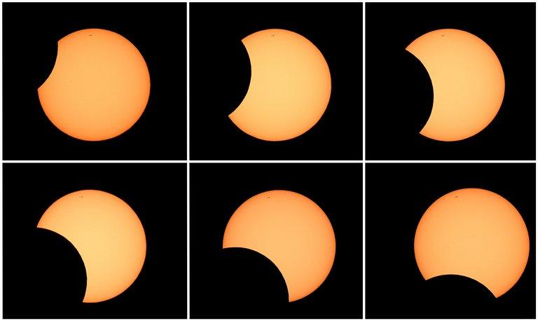 Photo combo shows the moon crossing in front of the sun (clockwise from top L) as seen from the Sydney Observatory during an annular eclipse on May 10, 2013. The eclipse occurs when the Moon passes between the Earth and the Sun but is too close to the Earth to completely cover the Sun