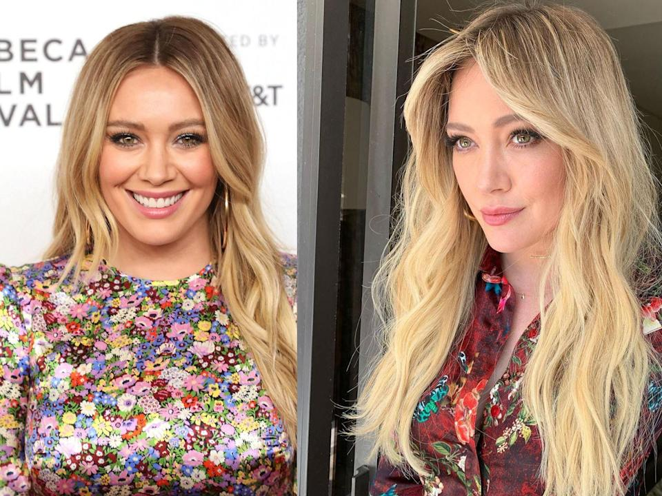 """Hilary left behind her long layers at the end of May 2019 for some '70s-style face-framing, center-parted bangs and a return to her usual lighter blond. The transformation comes courtesy of <a href=""""https://www.instagram.com/p/ByG0xD8DGQJ/"""" rel=""""nofollow noopener"""" target=""""_blank"""" data-ylk=""""slk:celeb hairstylist Nikki Lee"""" class=""""link rapid-noclick-resp"""">celeb hairstylist Nikki Lee</a>—and it looks incredible. """"Well @nikkilee901 came thru with these fly 70s summer bangers and @allanface face painted me up right and @highheelprncess got me this gorgeous flowing dress with some sassy ass boots. Mama feeling good,"""" she captioned her Instagram showing off the new look."""