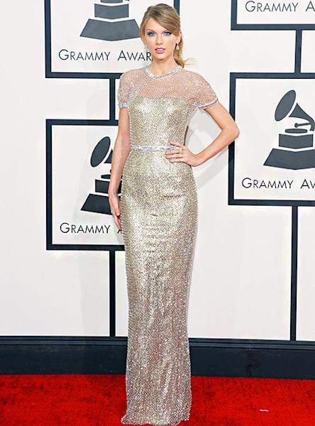 Taylor Swift wore a Gucci gown at the 56th GrammyAwards at Staples Center in L.A. on Jan. 26