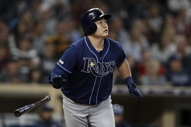 Tampa Bay Rays' Ji-Man Choi watches his two-run home run during the seventh inning of the team's baseball game against the San Diego Padres on Tuesday, Aug. 13, 2019, in San Diego. (AP Photo/Gregory Bull)