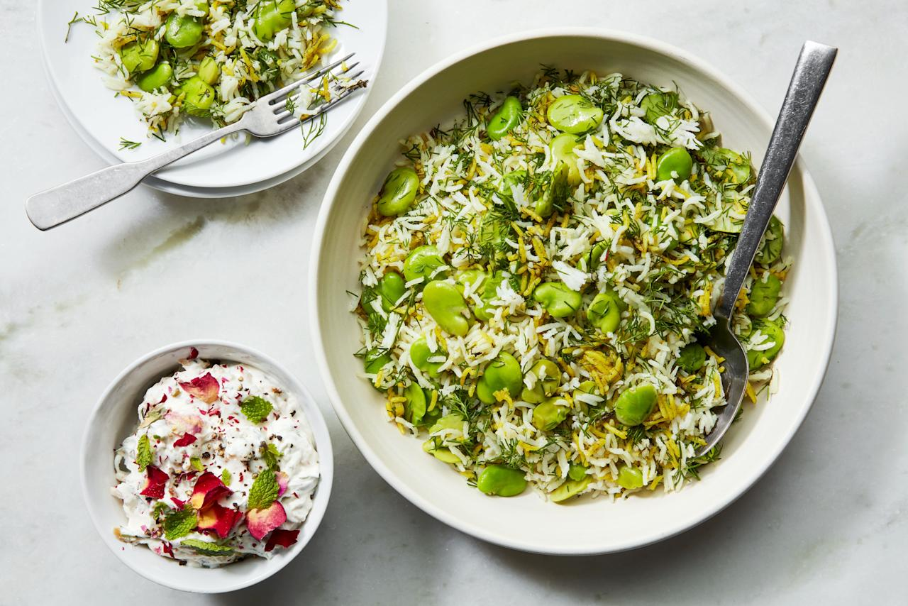 "Frozen fava beans make easy work of this fragrant rice dish, and you could also replace them with shelled lima beans or edamame instead. But if you have access to fresh favas, it makes for a delicious springtime stunner. <a href=""https://www.epicurious.com/recipes/food/views/persian-rice-with-fava-beans-and-dill-baqala-polow?mbid=synd_yahoo_rss"">See recipe.</a>"