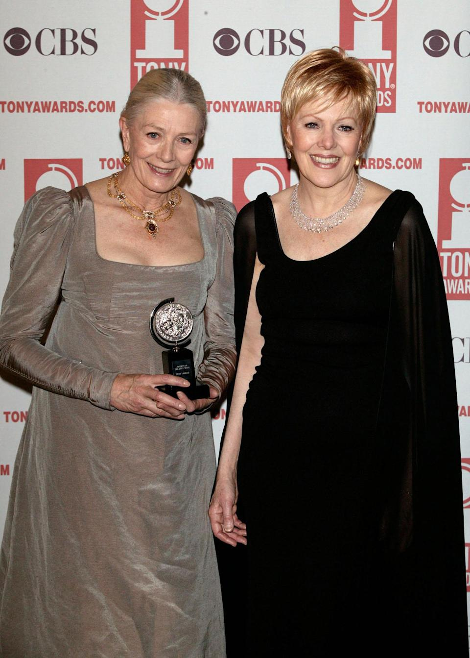 Actress Vanessa Redgrave (left) with her Tony Award for best actress and her sister Lynn Redgrave during the 2003 Tony Awards at Radio City Music Hall in New York City.