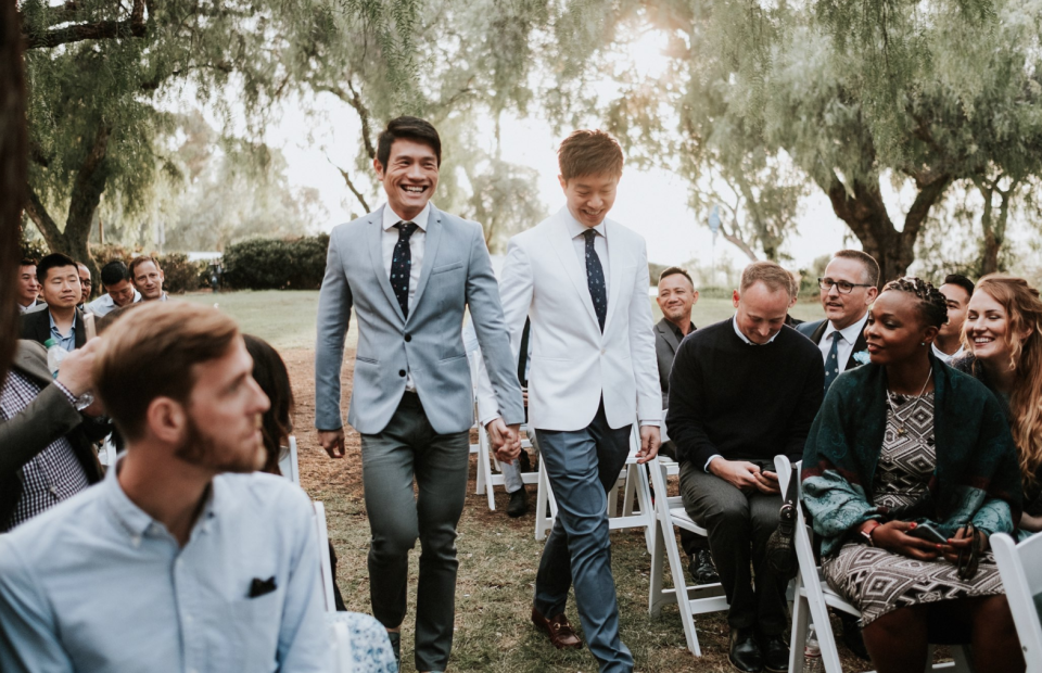 Caleb Goh (right) and his partner at their wedding ceremony in December 2017. (Photo: Caleb Goh/Twitter)