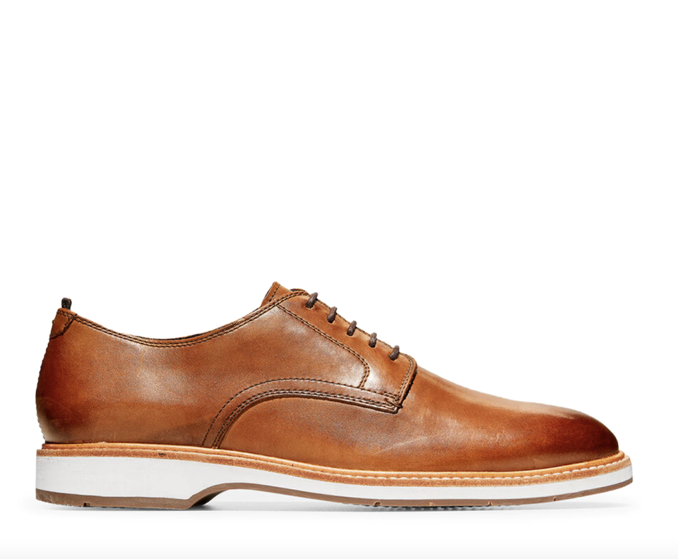brown leather Cole Haan Morris Plain Oxfords with white bottom
