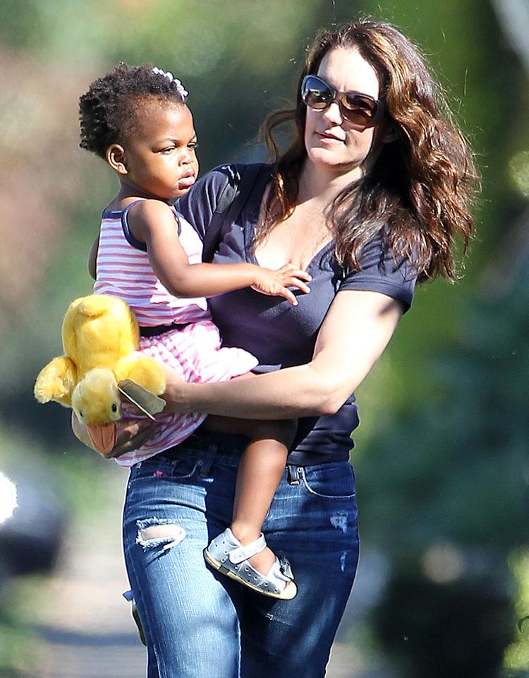 """Former """"Sex and the City"""" star Kristin Davis's daughter Gemma is getting big! The 48-year-old was spotted taking her little girl — and her furry stuffed ducky — to the doctor in Santa Monica, Calfiornia, on Friday. (7/19/2013)"""
