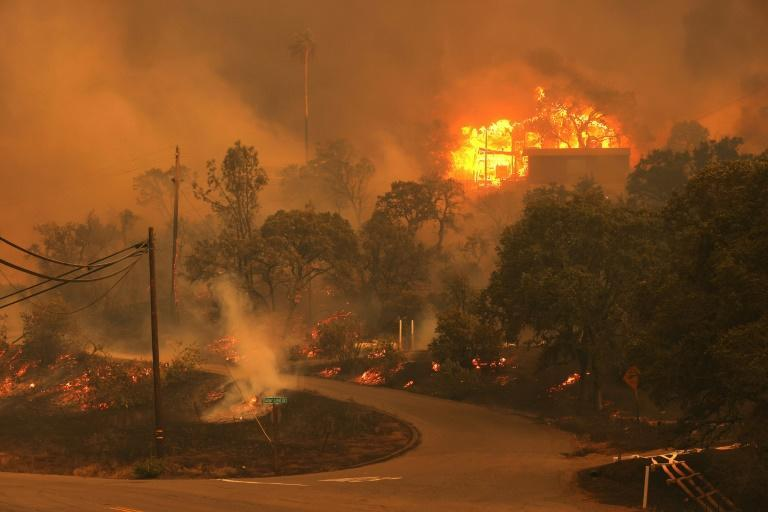 A home burns as the LNU Lightning Complex Fire burns through the area on August 18, 2020 in Napa, California