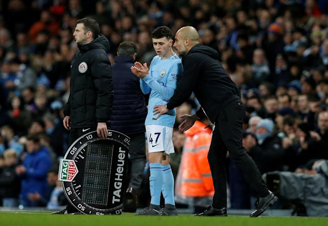 Young blood: Manchester City manager Pep Guardiola says young players like Phil Foden have a big future