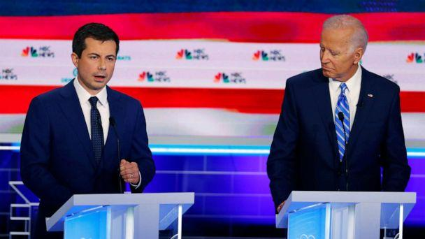 PHOTO: Pete Buttigieg and Joe Biden participate in the second night of the first 2020 democratic presidential debate at the Adrienne Arsht Center for the Performing Arts in Miami, June 27, 2019. (Wilfredo Lee/AP)