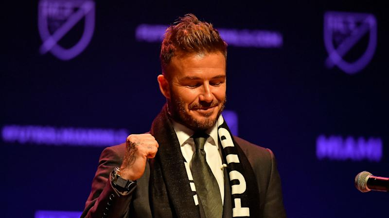 Beckham visits England Women's squad at SheBelieves Cup