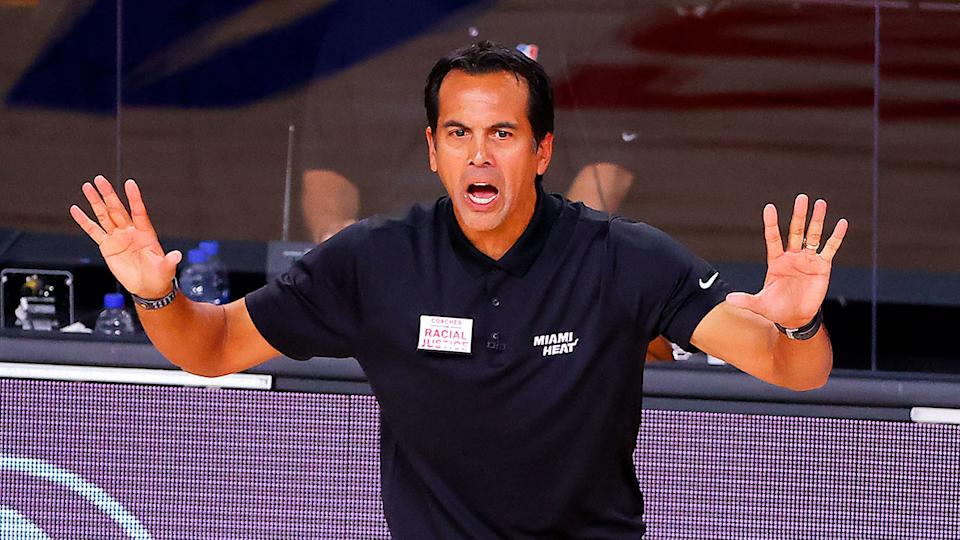 Seen here, Miami coach Erik Spoelstra remonstrates from the sideline.