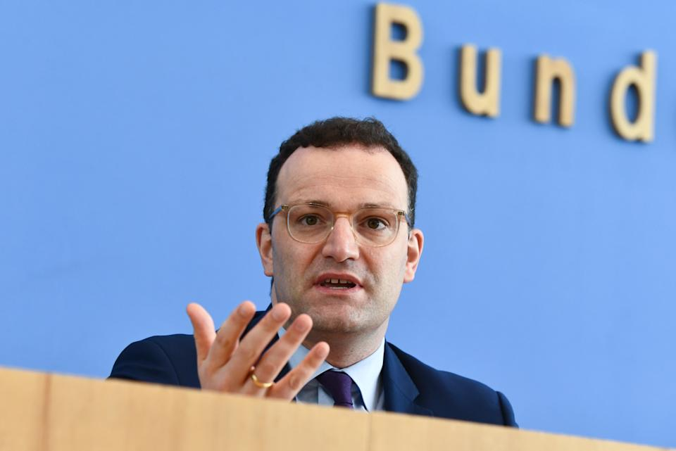 German Health Minister Jens Spahn gives a press conference on the novel coronavirus COVID-19 pandemic in Berlin on April 9, 2020. (Photo by ANNEGRET HILSE / POOL / AFP) (Photo by ANNEGRET HILSE/POOL/AFP via Getty Images)