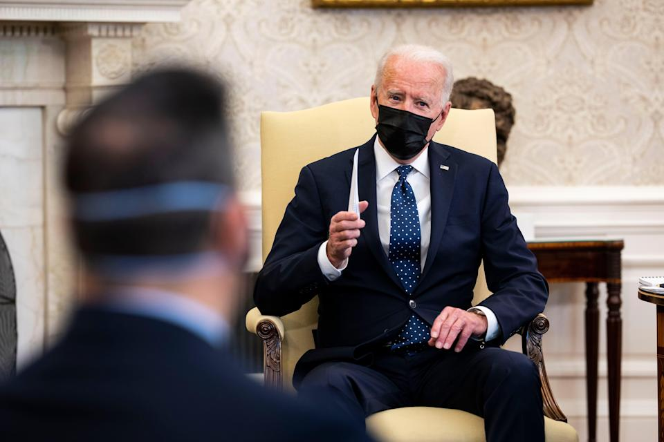 <p>US President Joe Biden speaks during a meeting with the leadership of the Congressional Hispanic Caucus in the Oval Office of the White House April 20, 2021 in Washington, DC</p> (Photo by Doug Mills-Pool/Getty Images)