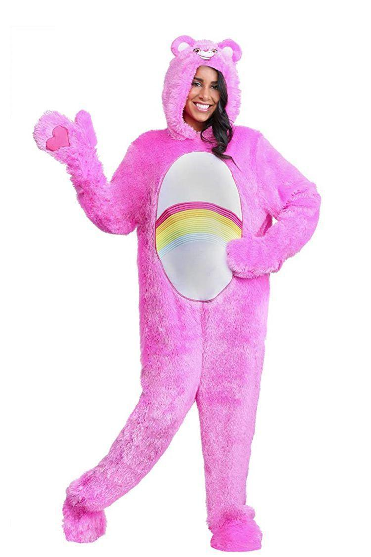 """<p><strong>Fun Costumes</strong></p><p>amazon.com</p><p><strong>$49.99</strong></p><p><a href=""""https://www.amazon.com/dp/B076DLDQ4G?tag=syn-yahoo-20&ascsubtag=%5Bartid%7C2141.g.33469434%5Bsrc%7Cyahoo-us"""" rel=""""nofollow noopener"""" target=""""_blank"""" data-ylk=""""slk:Shop Now"""" class=""""link rapid-noclick-resp"""">Shop Now</a></p><p>Stay nice and cozy in this family-friendly Care Bears costume that features a fuzzy exterior that'll beat cooler temps. Each color is a <a href=""""https://www.amazon.com/stores/FunCostumes/CareBearsCostumes_TVMovieCostumes/page/4FB01366-8225-4BA4-85F4-F7C3C3DB5162?tag=syn-yahoo-20&ascsubtag=%5Bartid%7C2141.g.33469434%5Bsrc%7Cyahoo-us"""" rel=""""nofollow noopener"""" target=""""_blank"""" data-ylk=""""slk:different character"""" class=""""link rapid-noclick-resp"""">different character</a>, and this Cheer Bear pick is the happiest of all! Its belly badge is in the perfect spot to feature your little bump too. </p>"""