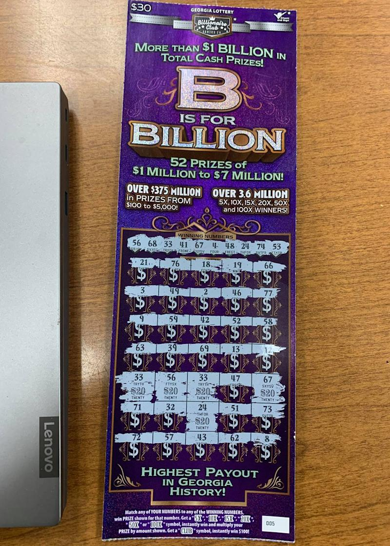 A winning scratchie left behind by a man pulled over by police in Georgia.