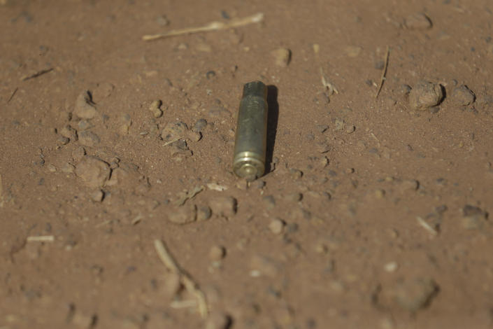 A bullet shell is seen outside of the Government Science Secondary School in Kankara, Nigeria, Wednesday, Dec. 16, 2020. Rebels from the Boko Haram extremist group claimed responsibility Tuesday for abducting hundreds of boys from the school in Nigeria's northern Katsina State last week in one of the largest such attacks in years, raising fears of a growing wave of violence in the region. (AP Photo/Sunday Alamba)