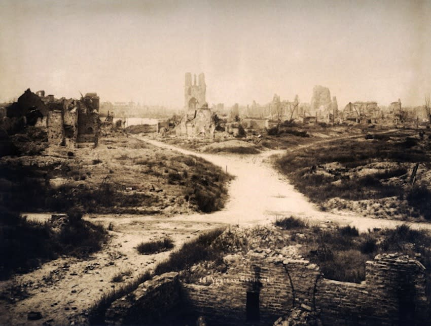 All that remains of the town of Ypres in Belgium, photographed soon after the end of World War One, circa March 1919. This image is from a series documenting the damage and devastation that was caused to towns and villages along the Western Front in France and Belgium during the First World War. (Photo by Popperfoto/Getty Images)