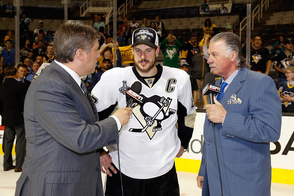 SAN JOSE, CA - JUNE 12: Sidney Crosby #87 of the Pittsburgh Penguins is interviewed by Steve Levy and Barry Melrose of ESPN after his teams 3-1 victory to win the Stanley Cup against the San Jose Sharks in Game Six of the 2016 NHL Stanley Cup Final at SAP Center on June 12, 2016 in San Jose, California. The Pittsburgh Penguins defeat the San Jose Sharks 3-1. (Photo by Christian Petersen/Getty Images)
