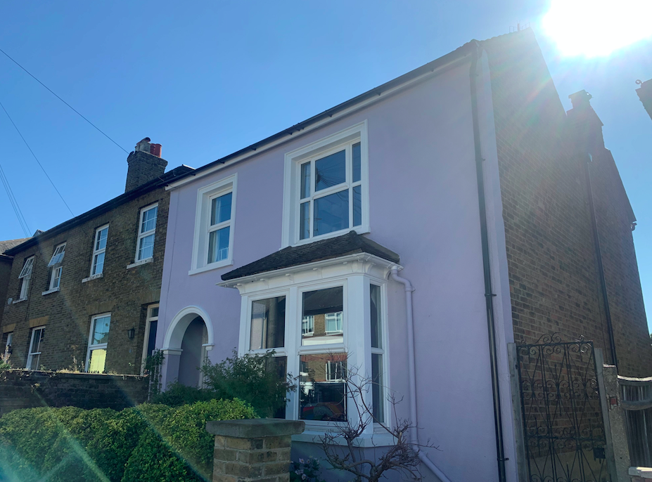 Kate Codrington and her partner Ian Davis painted the front of their home in Oxhey, Hertfordshire, lilac last August. (SWNS)