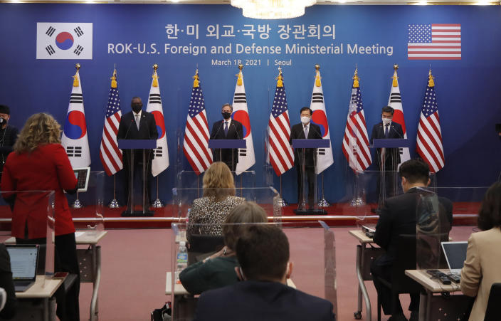 U.S. Secretary of State Antony Blinken, second from left, U.S. Defense Secretary Lloyd Austin, left, South Korean Foreign Minister Chung Eui-yong, second from right, and South Korean Defense Minister Suh Wook, right, listens to a reporter's question during the joint press conference after their meeting at the Foreign Ministry in Seoul, South Korea, Thursday, March 18, 2021. (AP Photo/Lee Jin-man, Pool)