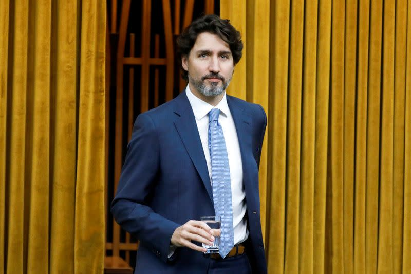 Canada's Prime Minister Justin Trudeau arrives to a meeting of the special committee on the COVID-19 pandemic in the House of Commons on Parliament Hill in Ottawa