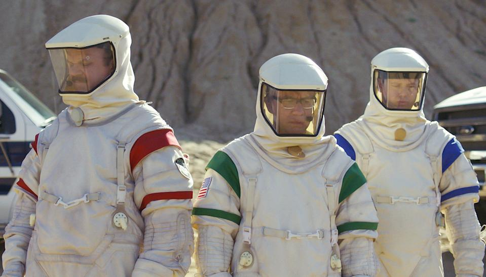 John C. Reilly, left, Fred Armisen and Tim Heidecker play three very grounded would-be astronauts in Showtime's 'Moonbase 8.'