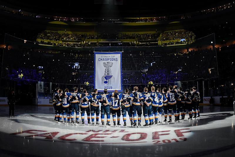 ST. LOUIS, MO - OCTOBER 2: St. Louis Blues during their Stanley Cup banner raising ceremony before the game against the Washington Capitals at Enterprise Center on October 2, 2019 in St. Louis, Missouri. (Photo by Scott Rovak/NHLI via Getty Images)