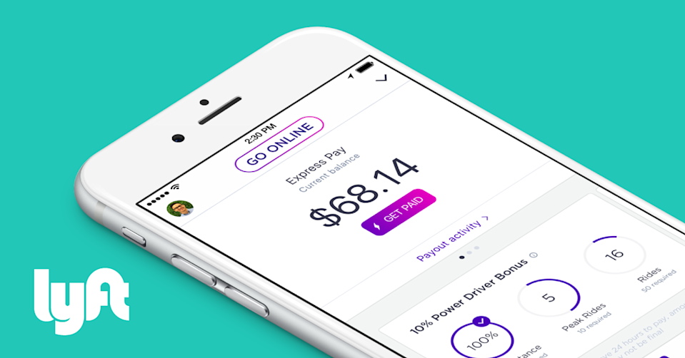 Lyft app showing driver income.
