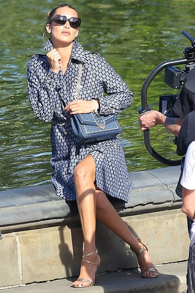 <p>Bella Hadid was spotted busy at work in Central Park for a photoshoot.</p>