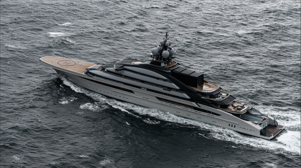 """<p>One of the world's largest """"gigayachts""""—measuring a whopping 456 feet—is also one of the newest, as it is currently undergoing trials in the Baltic Sea. This sleek structure, formerly known as <em>Opus</em> and <em>Project Redwood,</em> technically launched in January 2019 but came back to Lurssen for more fine tuning and upscale additions. The interiors and exterior are both by <a href=""""https://www.superyachttimes.com/companies/nuvolari-lenard"""" rel=""""nofollow noopener"""" target=""""_blank"""" data-ylk=""""slk:Nuvolari Lenard"""" class=""""link rapid-noclick-resp"""">Nuvolari Lenard</a>, and the yacht will reportedly sleep up to 36 guests. Some of the ultra-fabulous amenities include a beach club, fitness center, spa and sauna, Jacuzzi, swimming pool, elevator, two helipads, and an impressive study.</p>"""