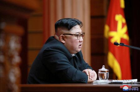 North Korean leader Kim Jong Un speaks during the 4th Plenary Meeting of the 7th Central Committee of the Workers' Party of Korea in Pyongyang