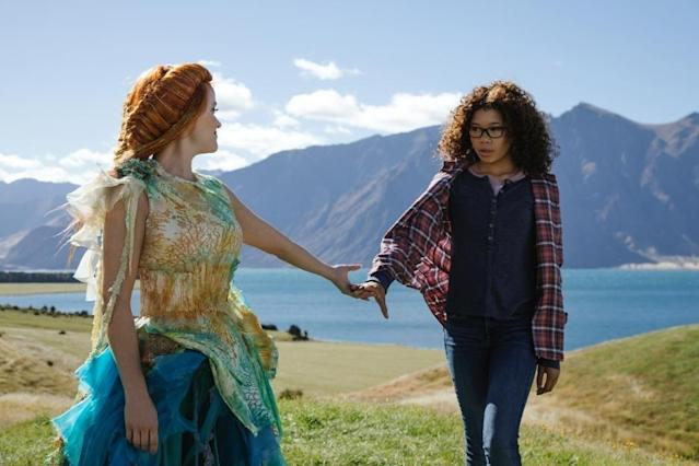 Reese Witherspoon portrays Mrs Whatsit who guides Meg Murry played by Storm Reid. (Walt Disney Pictures)