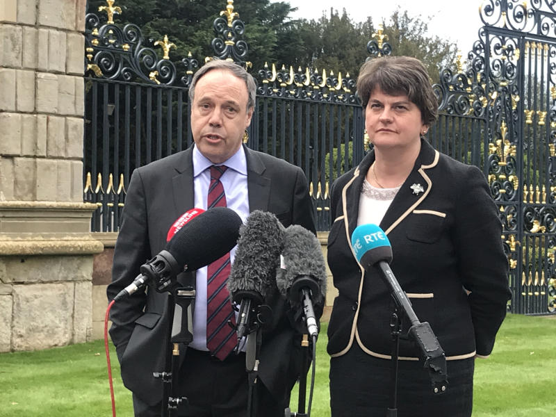 DUP Deputy leader Nigel Dodds and leader Arlene Foster speak to media at Hillsborough Castle after meeting NI Secretary Julian Smith.