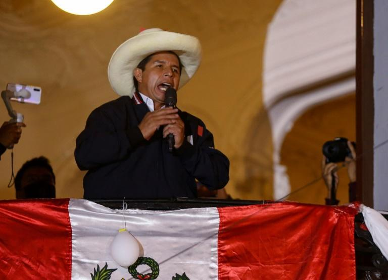 Peruvian leftist presidential candidate Pedro Castillo in Lima after the June 6, 2021 election