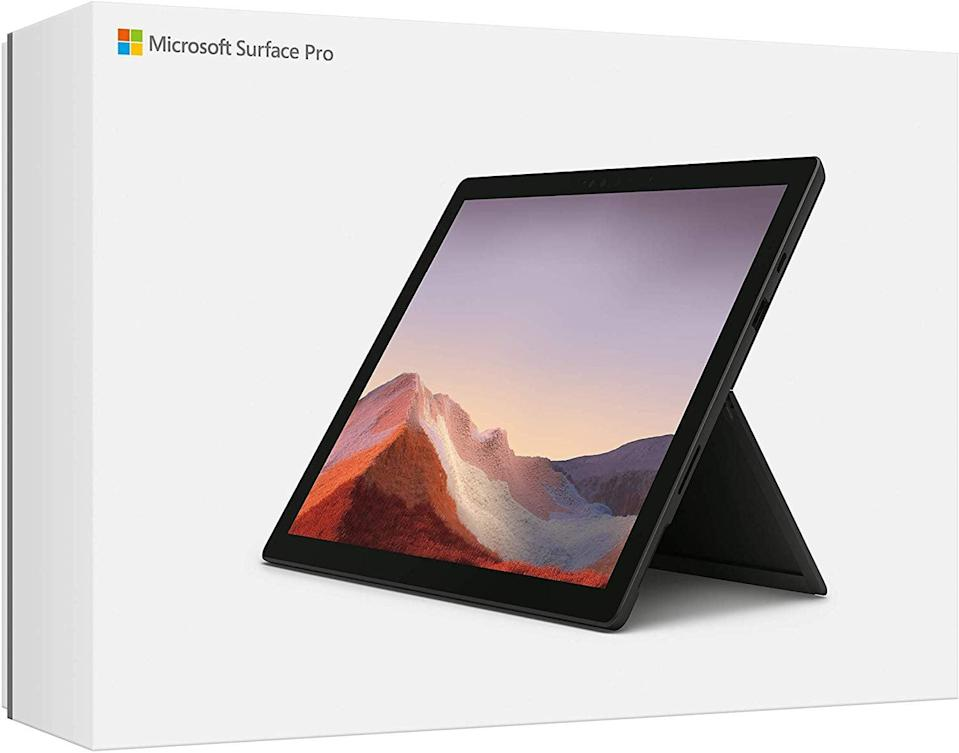 """<p>Never hear him complain about a tablet again with the new <a href=""""https://www.popsugar.com/buy/Microsoft-Surface-Pro-545906?p_name=Microsoft%20Surface%20Pro&retailer=amazon.com&pid=545906&price=995&evar1=geek%3Aus&evar9=36026397&evar98=https%3A%2F%2Fwww.popsugar.com%2Ftech%2Fphoto-gallery%2F36026397%2Fimage%2F39059164%2FSurface-Pro&list1=gifts%2Cgadgets%2Cgift%20guide%2Cdigital%20life%2Ctech%20news%2Cmicrosoft%2Cfathers%20day%2Ctech%20gifts%2Cgifts%20for%20men&prop13=mobile&pdata=1"""" class=""""link rapid-noclick-resp"""" rel=""""nofollow noopener"""" target=""""_blank"""" data-ylk=""""slk:Microsoft Surface Pro"""">Microsoft Surface Pro</a> ($995). The latest version has 10 and a half hours of battery life, a front and back camera system, and more versatility that might make him replace his laptop with this.</p>"""