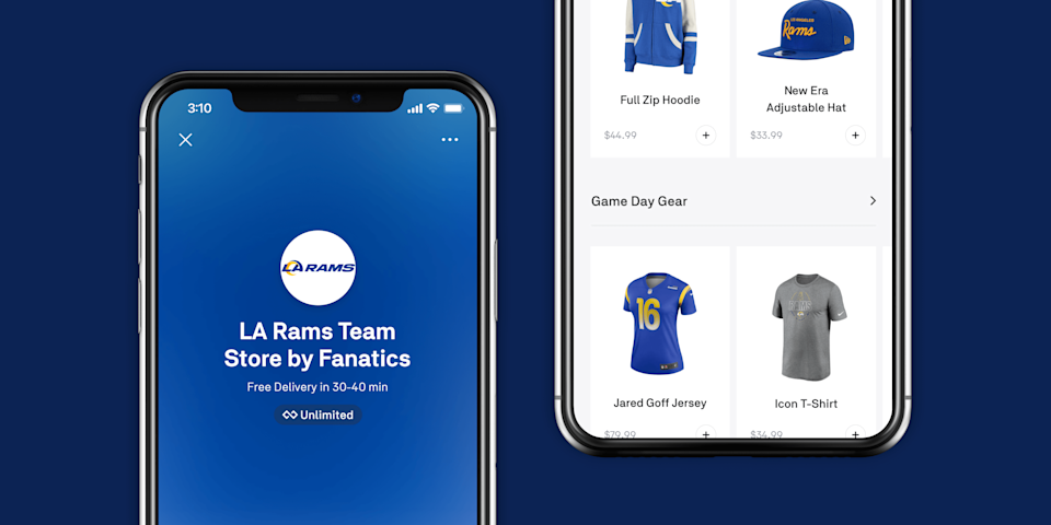 Images of the Postmates pop-up shop for Los Angeles Rams gear depicting the home screen in blue and a view of branded paraphernalia against a white background.