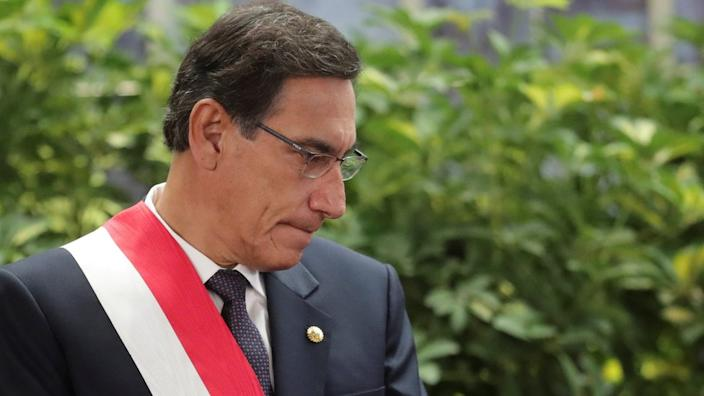 Peru's President Martin Vizcarra attends a swearing-in ceremony at the government palace in Lima, Peru October 3, 2019