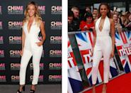 <p>Beyonce wore this tailored Gucci jumpsuit at a charity gala in 2014, while Alesha wore it on the 'Britain's Got Talent' red carpet around six months later. <i>[Photo: Rex]</i></p>