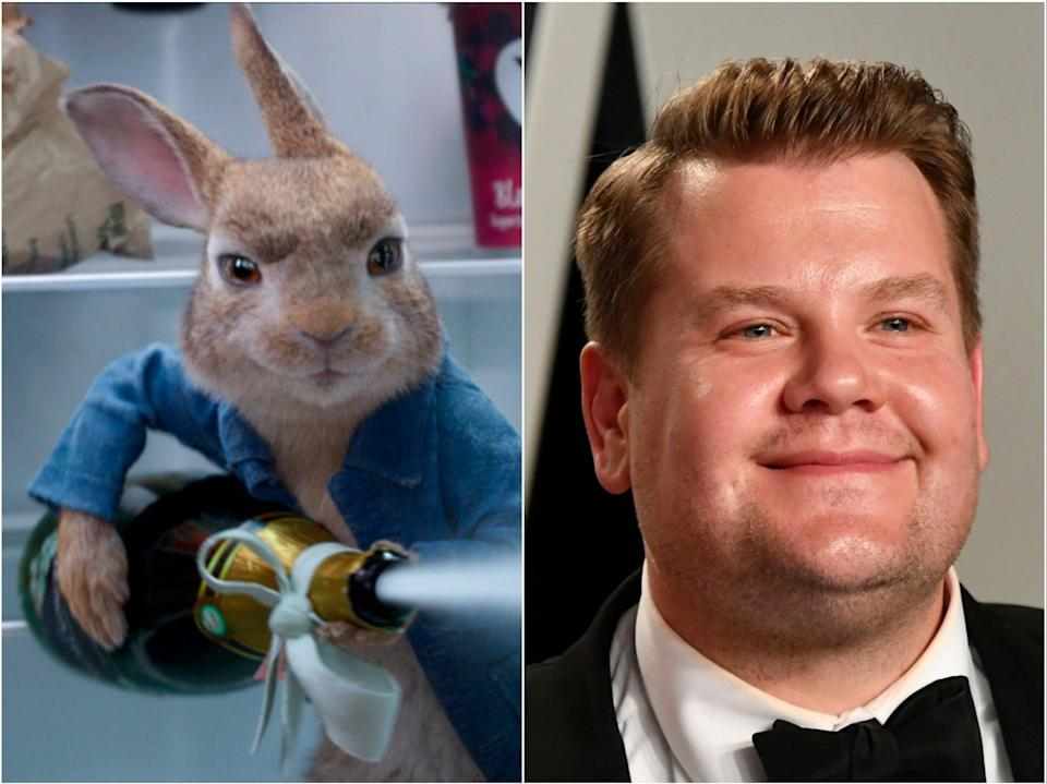 Peter Rabbit (left) and James Corden (right) (Sony/Getty)