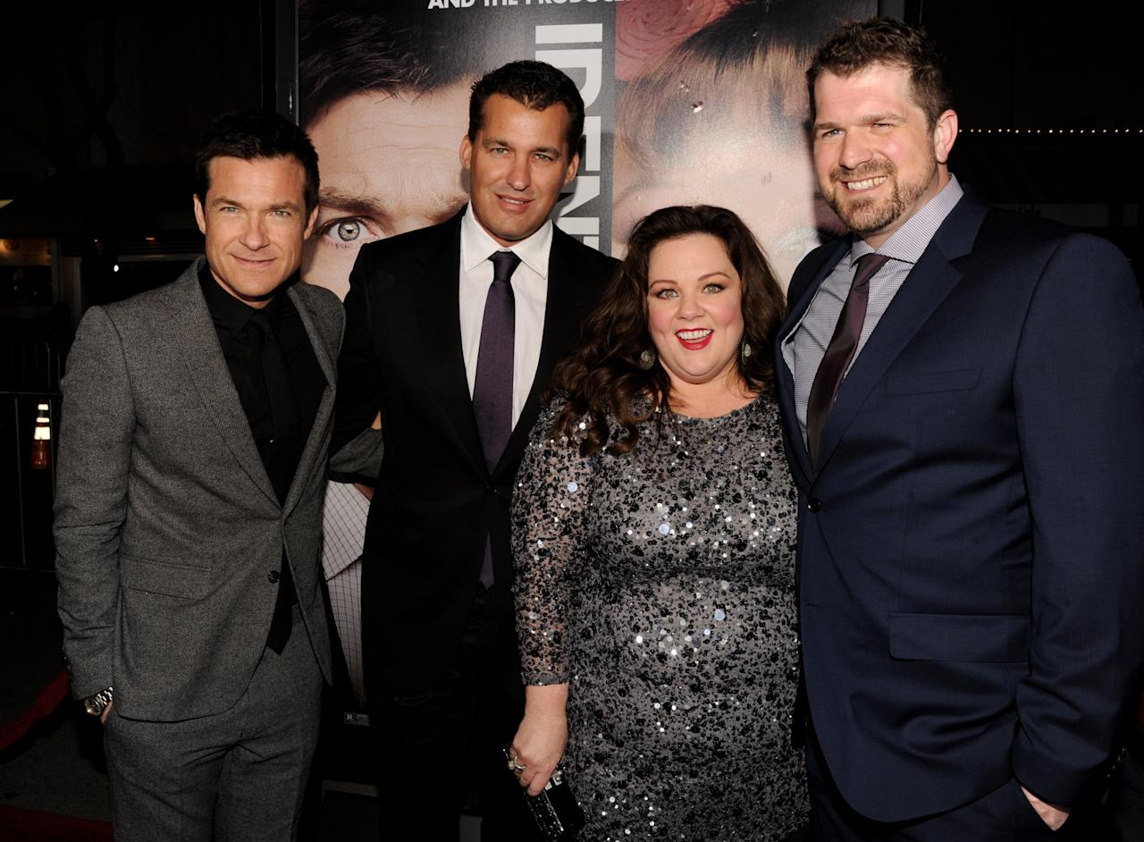 "LOS ANGELES, CA - FEBRUARY 04:  (L-R) Actor Jason Bateman, producer Scott Stuber, actress Melissa McCarthy and director Seth Gordon arrive at the premiere of Universal Pictures' ""Identity Theft"" at the Village Theatre on February 4, 2013 in Los Angeles, California.  (Photo by Kevin Winter/Getty Images)"