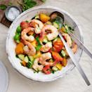 <p>Use an array of colorful tomatoes to make this healthy shrimp salad pop. Cooking the shrimp with fresh herbs and garlic infuses them with flavor without coming off too strong for a light dinner salad that's perfect for summer entertaining.</p>