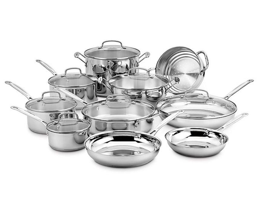 "This Cuisinart cookware set offers a lot of bang for your buck, featuring everything from three sauce pans with glass covers to a Dutch oven. Plus, the silver will stand out even if it's next to the silverware (these pots and pans are made of stainless steel, BTW). <a href=""https://fave.co/2INBORX"" target=""_blank"" rel=""noopener noreferrer"">Originally $250, get the set now for $200 at Bed Bath & Beyond</a>."