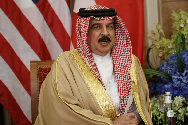 FILE - In this May 21, 2017 file photo, Bahrain's King Hamad bin Isa Al Khalifa speaks during a meeting with U.S. President Donald Trump, in Riyadh, Saudi Arabia. The king reinstated the citizenship of 551 people convicted amid a crackdown on dissent on the island. The surprise royal decree, announced Sunday, April 21, 2019, by the state-run Bahrain News Agency, gave no explanation for his decision. (AP Photo/Evan Vucci, File)