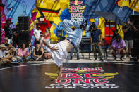 An attendee dances on the floor before the Red Bull BC One event on, Saturday, July 24, 2021. in New York. Many in the breaking community are eager for the art form to expand its audience after the International Olympic Committee announced that it would become an official sport at the Paris 2024 games. But that optimism is hardly unanimous. (AP Photo/Eduardo Munoz Alvarez)