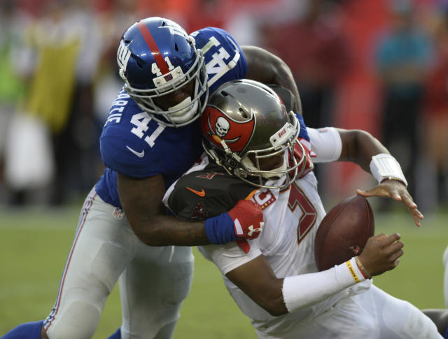 New York Giants cornerback Dominique Rodgers-Cromartie sacks Tampa Bay Buccaneers quarterback Jameis Winston (3) during the second half of an NFL football game Sunday, Oct. 1, 2017, in Tampa, Fla. (AP Photo/Jason Behnken)