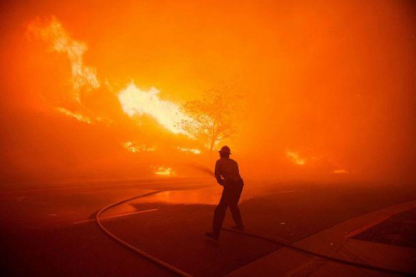PHOTO: ANF Texas Canyon Station Firefighters battle the flames of the Saddlebridge Fire in Sylmar, Calif. on Oct. 10, 2019. (EPA-EFE via Shutterstock, FILE)