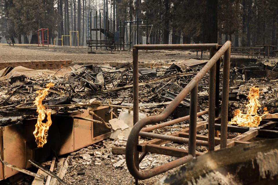 GRIZZLY FLATS – AUGUST 18: Walt Tyler Elementary School, Wednesday, Aug. 18, 2021, in Grizzly Flats, Calif. The area was destroyed in the Caldor Fire. (Santiago Mejia/San Francisco Chronicle via Getty Images)